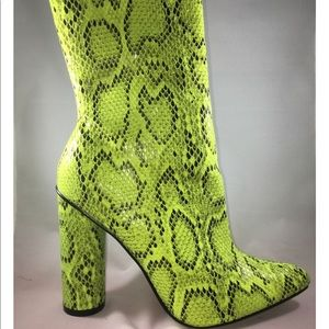 burnin bushes Shoes - Neon snakeskin leather bootie